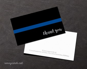 Set of 20 Thanks for your Service Cards - Business Card Size -Simple Thin Blue Line
