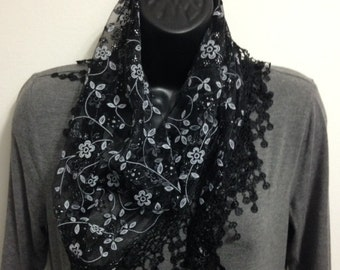 Black Scarf with Fringe Shawl Scarf Long Scarf Women Fashion Accessories Gift for Her