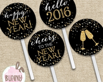 Cake Pop Toppers New Years INSTANT DOWNLOAD Printable