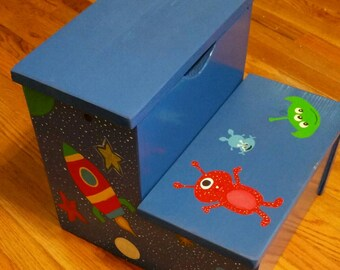Painted Step Stool, Personalize Stool, Step Stool, Storage Step Stool, Kids Storage, Rockets, Planets, Aliens, outer space, Space