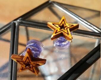 Wooden Star & Flower Plugs Earrings 8mm 0 Gauge (PAIR)