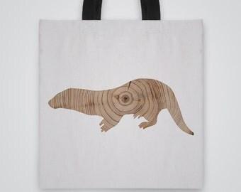 Wood Otter Silhouette Tote Bag - Art Tote - Market Bag - Shoulder Bag - Canvas Bag