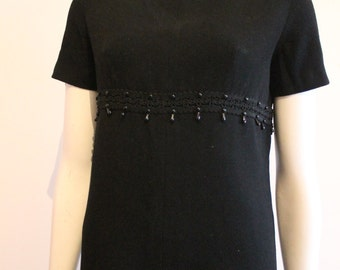 1960's Black wool beaded classic shift dress