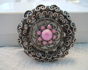 Vintage Brooch ~ Pink Brooch ~ Flower ~ Vintage ~ Brooch ~ Pin ~ Silver Toned ~ Womens ~ Jewelry ~ Gift