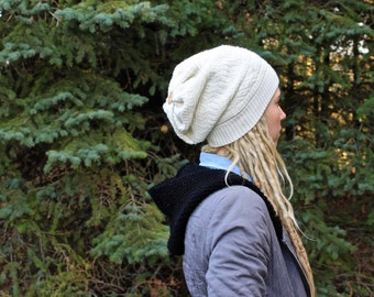 White slouchy toque made from recycled sweater!