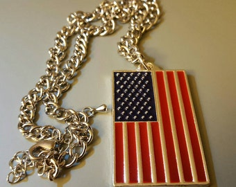 American Flag Necklace with Patriotic saying on the back