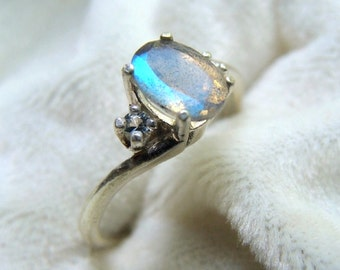 Faceted Labradorite and Aquamarine Ring Sterling Silver
