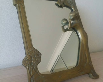 Art Nouveau Solid Brass Dressing Table Mirror