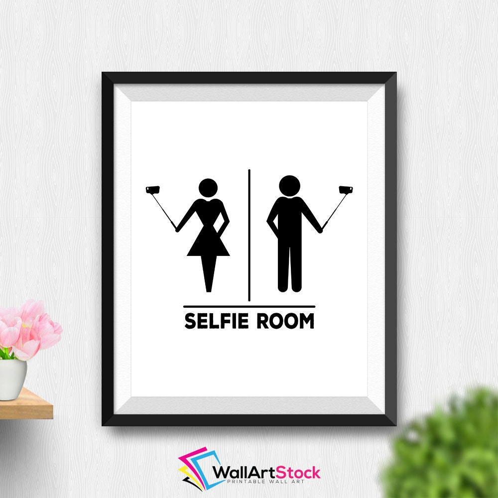 Printable selfie room wall art funny bathroom wall art - Funny bathroom wall decor ...