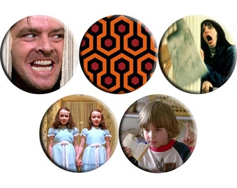 Set of FIVE The Shining film badges (1980) handmade film / movie badge set [Stanley Kubrick]