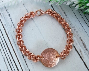 Burnished: Solid copper chainmaille bracelet in Jens Pind weave with central copper disc