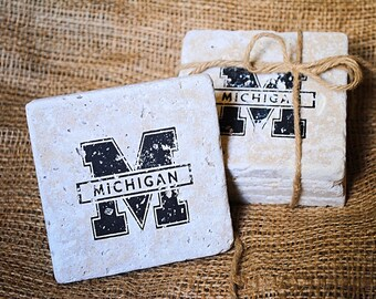 University of Michigan Coaster, Wolverines, Khaki Pants, College Football, Christmas Present, White Elephant Gift, Set of 4 Coasters