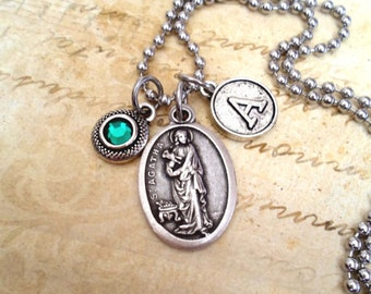 St. Agatha, Patron Saint of Nurses, Breast Cancer Patients, Personalized Necklace, Swarovski Crystal, Custom Letter, Initial, Womens