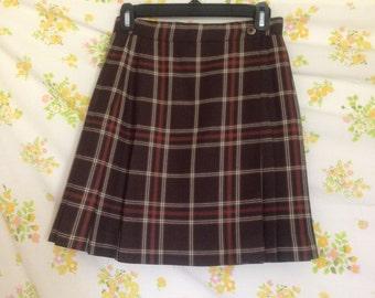 Brown Plaid Schoolgirl Skirt
