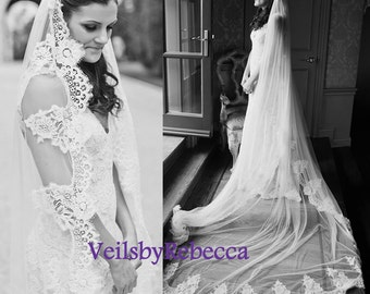 Dramatic Lace Wedding Veil Bridal 1 Tier Cathedral Ivory