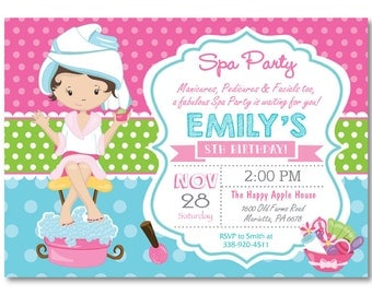 spa birthday party  etsy, invitation samples