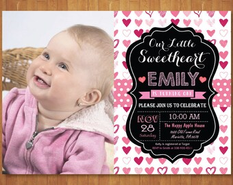 Valentine Birthday Invitation with Photo. Our Little Sweetheart Birthday Invitation. Girl or Boy 1st First Birthday Party. Printable Digital
