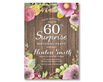 Surprise 60th Birthday Invitation for Women. Rustic Birthday. Watercolor Floral Flower. Pink Purple Yellow. Any Age. Printable Digital.