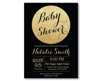 Black and Gold Baby Shower Invitation. Gold Glitter Baby Shower Invitation. Girl Baby Shower. Sparkle. Printable Digital.