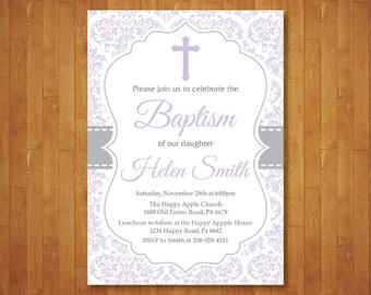 Baptism Invitation Girl. First Communion. Christening. Child Dedication. Purple and Gray Damask. Cross Invitation. Printable Digital.