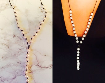 Pearl Leather Y Necklace
