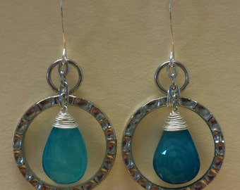 Blue Chalcedony Wire Wrap Earrings