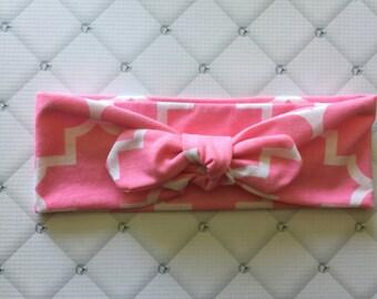 Pink Quatrefoil Top Knot Headband// Turban Headband// Headwrap //