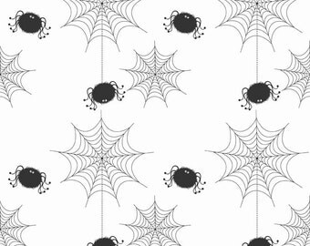 Spider Webs White by Riley Blake Designs - Halloween Holiday Basic - Quilting Cotton Fabric - by the yard fat quarter half