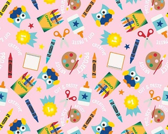 Colorfully Creative Crayola Color Me Main Pink by Riley Blake Designs - Owls - Quilting Cotton Fabric - choose your cut