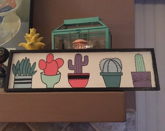 Hand painted cactus garden sign
