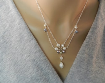 Pearl Necklace - White - Grey - Pearl - Freshwater Pearl Necklace