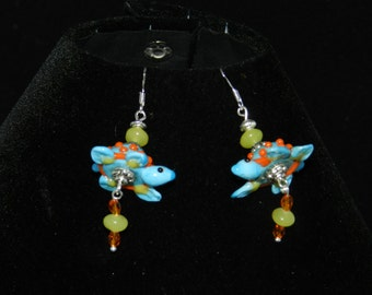 Lampwork Glass Turtle Earrings