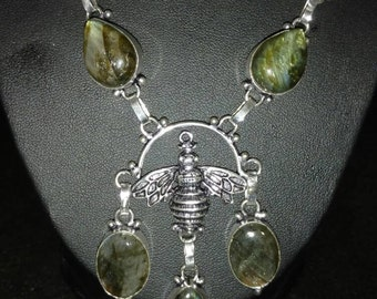 Labradorite Bee Necklace