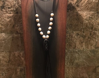 Black leather necklace with freshwater pearls and leather tassel
