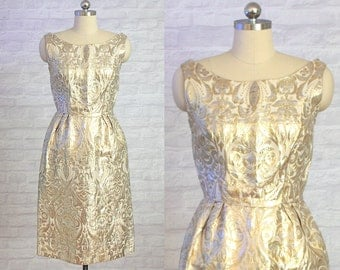 Gold & Silver Brocade Damask Dress | vintage 1960s dress | 60s Special Occasion