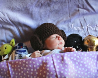Star Wars Princess Leia hat, Newborn Photo Prop, Baby Shower Gift, Halloween Costume, Princess Leia Hat, Star Wars, Newborn Hat,