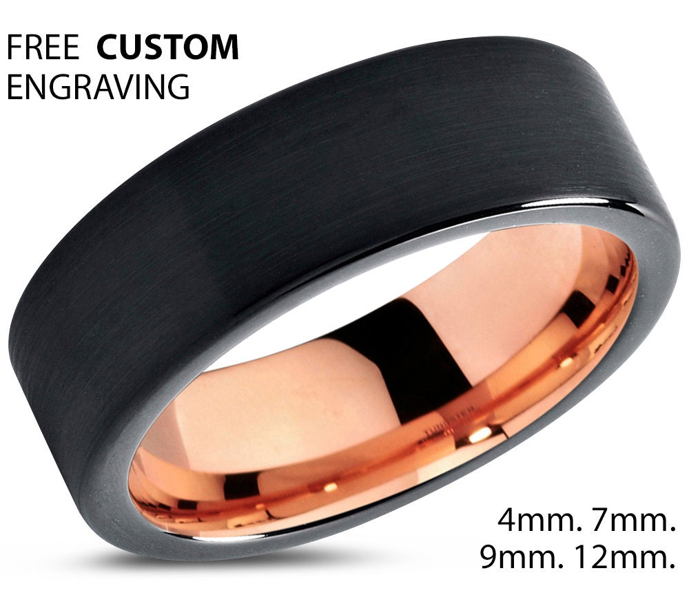 Black Tungsten Ring Rose Gold Wedding Band Carbide