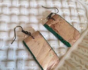 Wooden color blocked earrings