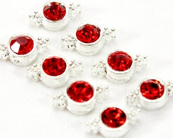 Two Hole Sliders With Red Crystals (5) Metal Sliders with Red Rhinestones. Silver Multi Strand Sliders. Red Beads for Bracelets. Two Strand