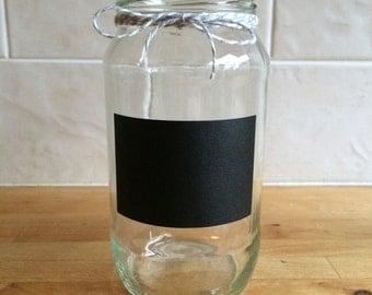 Glass jar with chalk board label