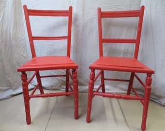 Pair of Upcycled Vintage Retro Red Chairs