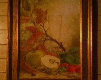 Still life with apples and strawberrie. Oil painting. Canvas. Original.