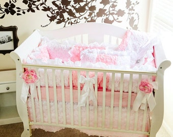 White and Baby Pink 3D Roses and Baby Pink Pin Tuck, Pink and White Bedding, Baby Bedding, 3pc or 4pc Bedding Set, Crib Bedding
