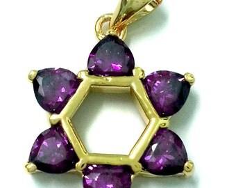 Gold Plated Amethyst Star of David Pendant Jerusalem Judaica