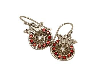 Pomegranate Earring with Garnet & Zircon stones Rhodium Plate Jerusalem Judaica Women Gift