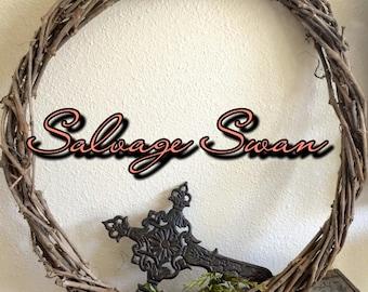 Rustic Grapevine Wreath, Primitive Wreath, Vintage Wreath, Weathered Rustic Decor, Farmhouse Wreath