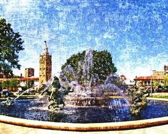 Kansas City Royal Art Blue J C Nichols Memorial Fountain, Kansas City Art, Kansas City Fountains, Kansas City Skyline,  Rendering #7