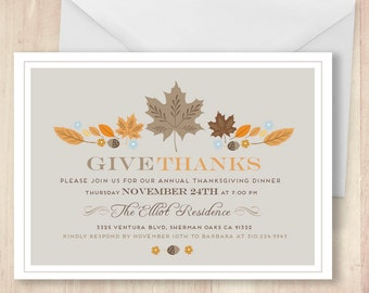 Modern Thanksgiving Invitation.  Thanksgiving Invite. Thanksgiving Feast.  Happy Thanksgiving Invite.  Custom DIY Thanksgiving Invite.