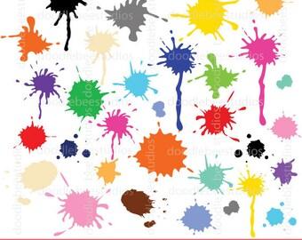 Paint Splash Clipart, Paint Splashes Clip Art, Paint Clipart, Ink Blots Clipart, Colorful Paints Clipart, Paint Sploshes, Paint Clip Art