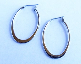 Vintage Hoop Earrings, Silver Tone Oval Hoops, Medium Size Hoop Earrings, Pierced Earrings, Silver Tone Jewelry, Gift For Her, 1970s'